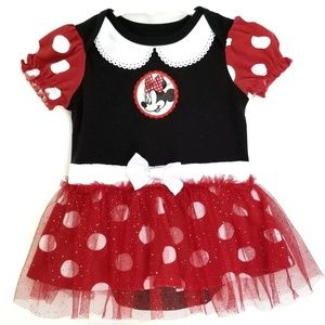 Minnie Mouse Skirted Bodysuit Red Black Halloween